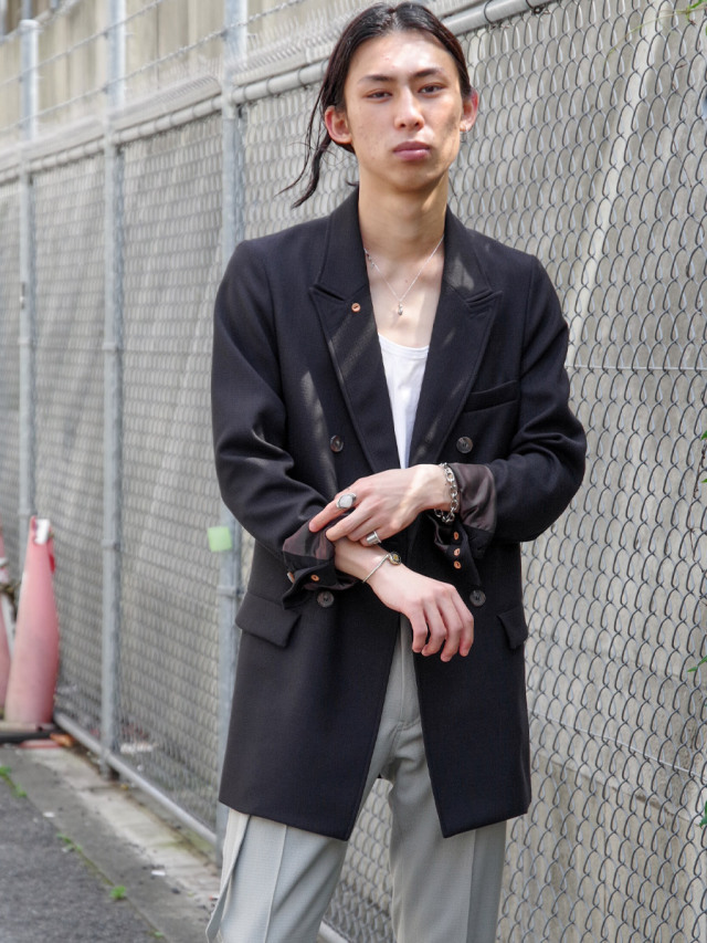 """LAST-1.【2021SS】 BED J.W. FORD (ベッドフォード) """"DOUBLE-BREASTED JACKET"""" <ダブルジャケット> - BLACK"""