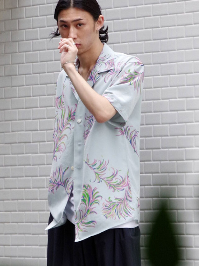 """【2021SS】 BED J.W. FORD (ベッドフォード) """"OPEN COLLAR HALF SLEEVES FEATHER BLOUSE"""" <シャツ> - SAXE BLUE"""