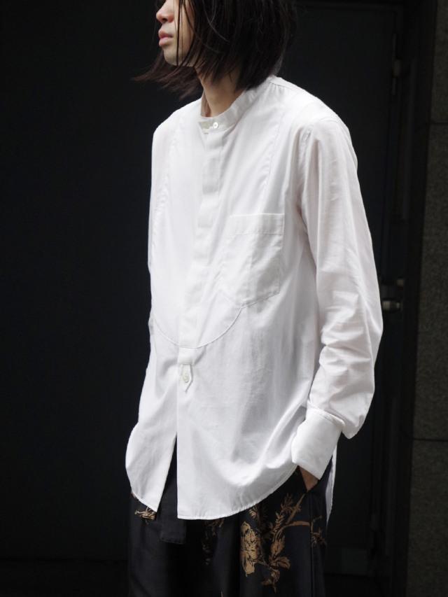 "【2020AW】 BED J.W. FORD (ベッドフォード) ""Cotton Silk No Collar Shirt"" <シャツ> - WHITE"