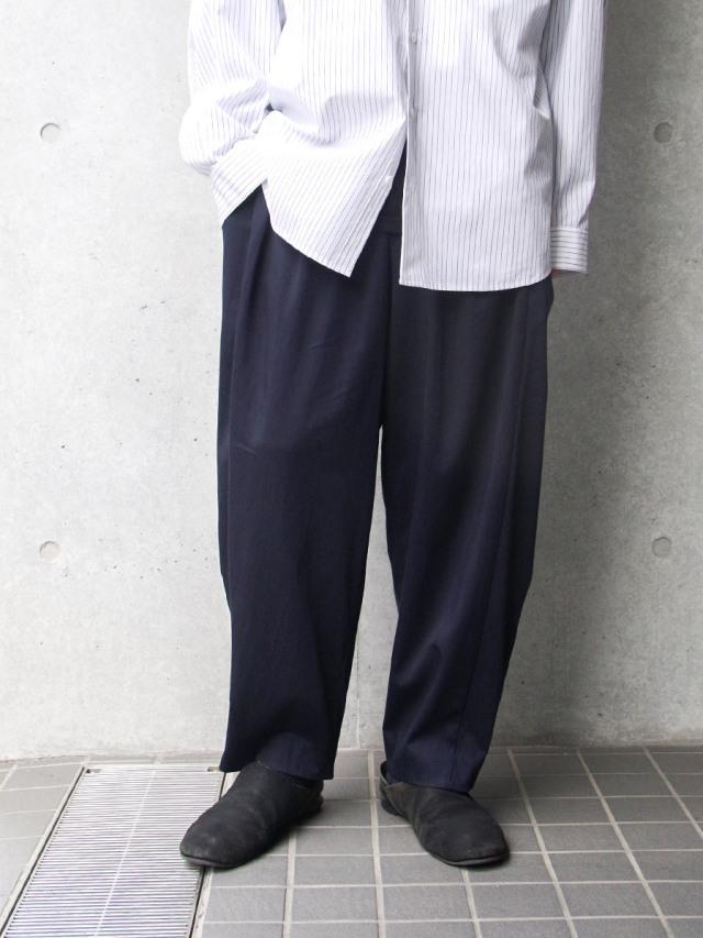 """Dulcamara × SHELTER (ドゥルカマラ) """"別注C/Nサテン3サイドPT"""" <パンツ> - NAVY"""