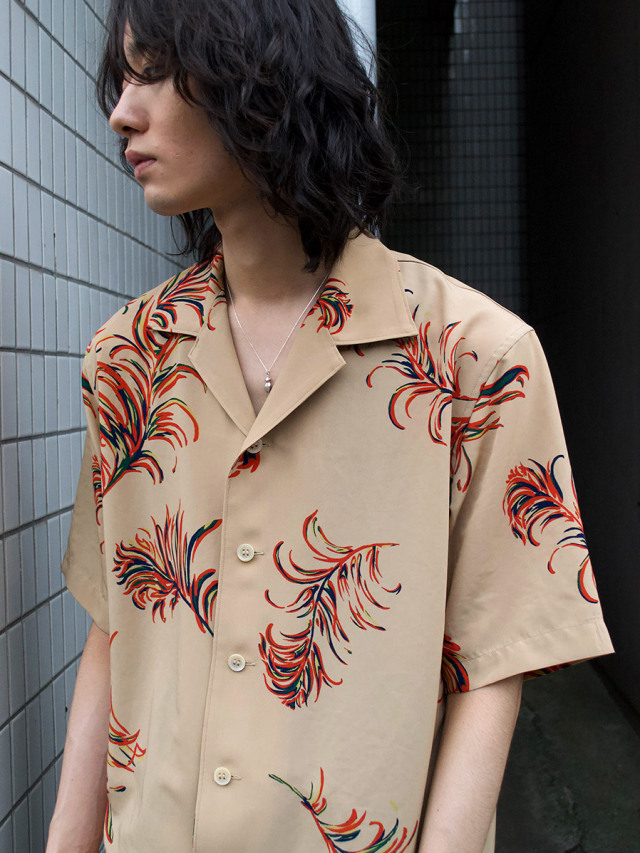 """LAST-1.【2021SS】 BED J.W. FORD (ベッドフォード) """"OPEN COLLAR HALF SLEEVES FEATHER BLOUSE"""" <シャツ> - BEIGE"""