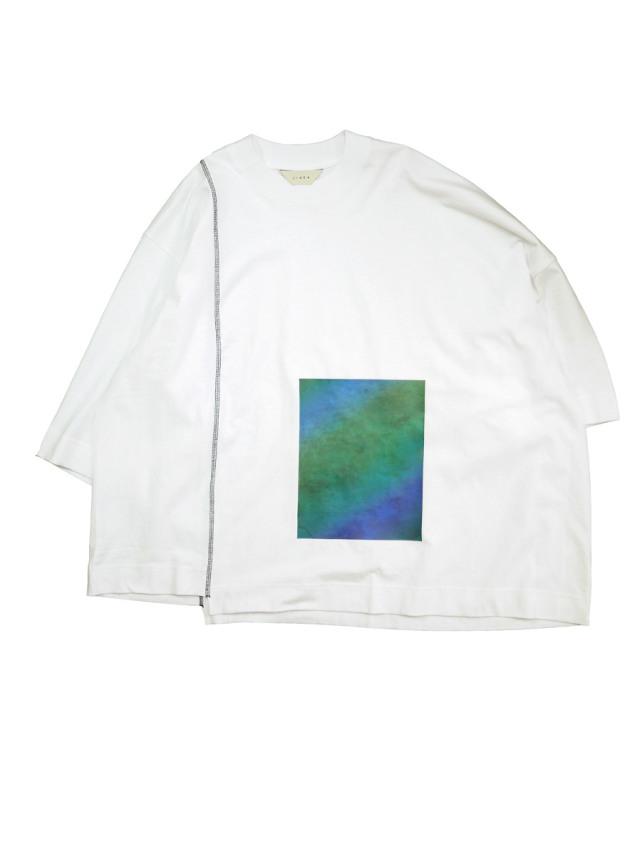 "JieDa(ジエダ)  ""PRINTED ASYMMETRY T-SHIRT"" <Tシャツ/カットソー> - WHITE"