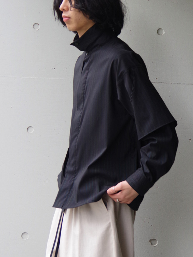 "JieDa(ジエダ)  ""SILK STRIPE TRENCH SHIRT"" <トレンチシャツ>"