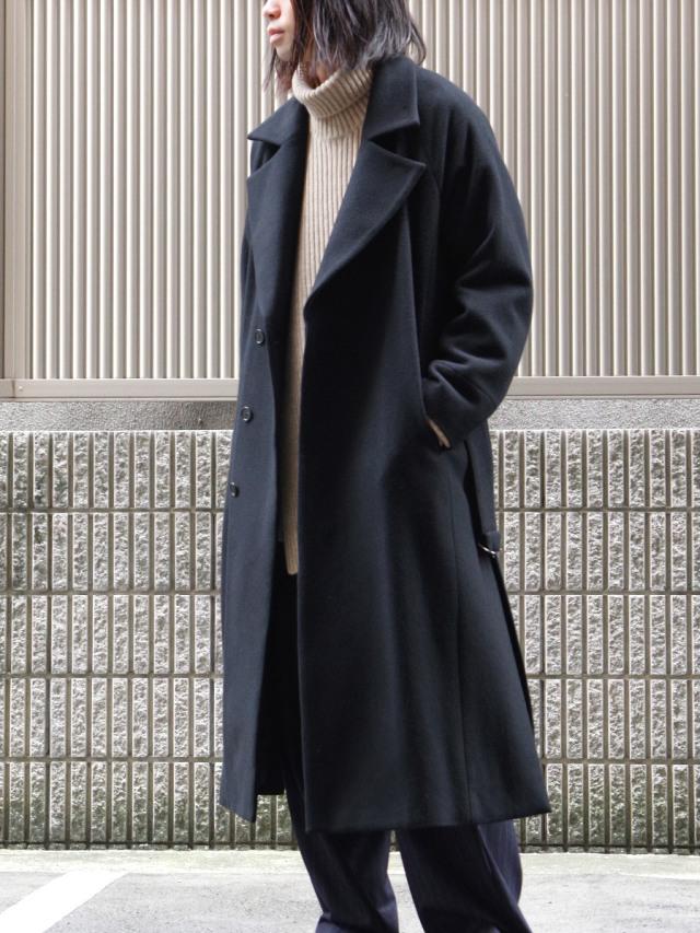 "JUHA (ユハ)  ""BELTED OVER COAT"" <ロングコート> - BLACK"