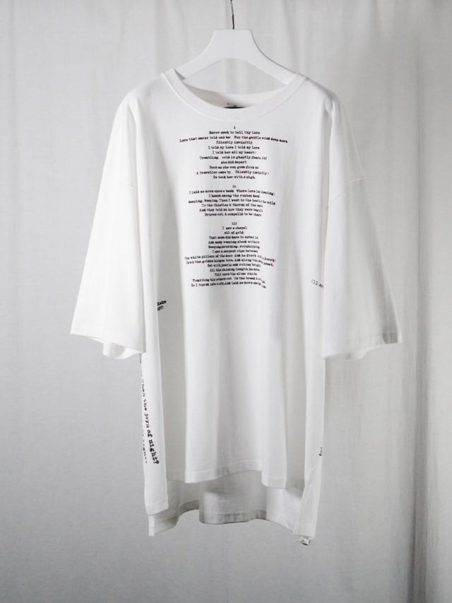 "<2021SS> LEH (レー)  ""BIG SIZE T-SHIRT -poem-"" <カットソー> - WHITE"