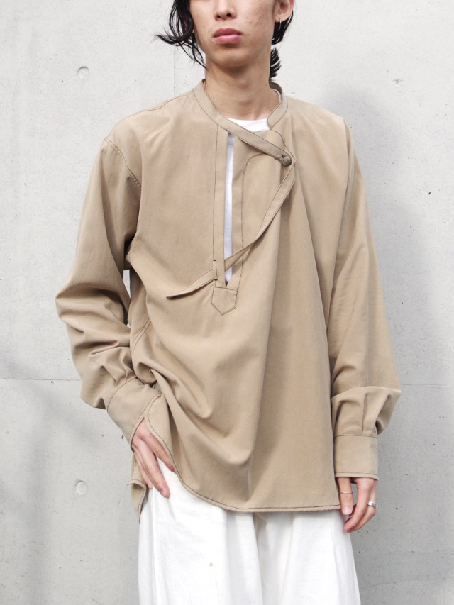 """【2021SS】 LEH (レー)  """"BAND TOP SHIRTS"""" <シャツ> - CAMEL"""