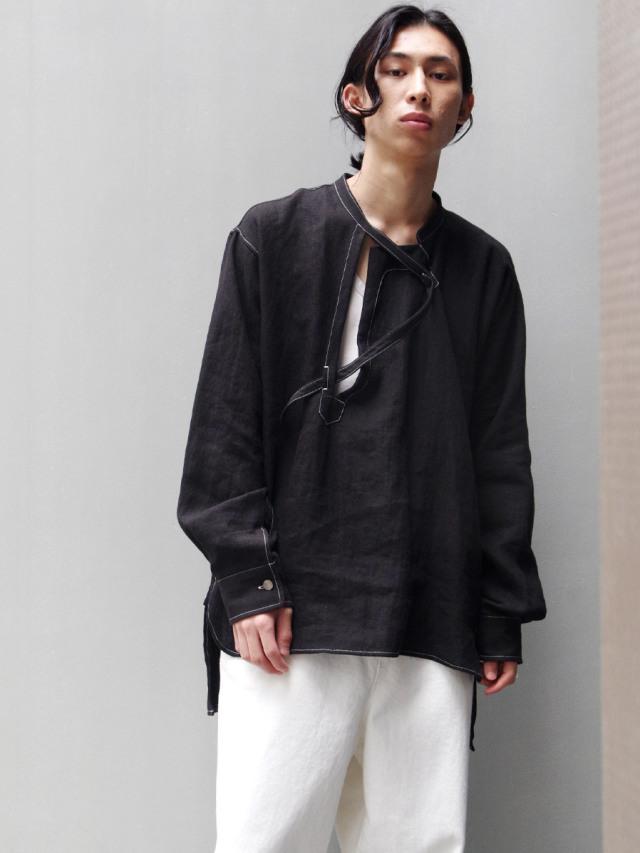 """【2021SS】 LEH (レー)  """"BAND TOP SHIRTS"""" <シャツ> - BLACK"""