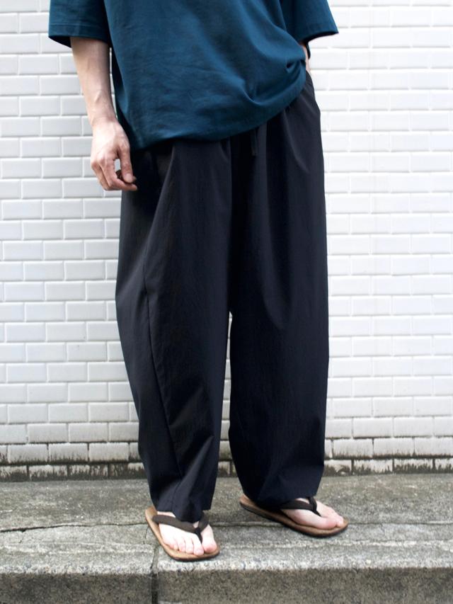 """LAST 1.【21SS】 my beautiful landlet (マイビューティフルランドレット)  """"TECHNO WIDE EASY PANTS"""" <パンツ> - BLACK"""