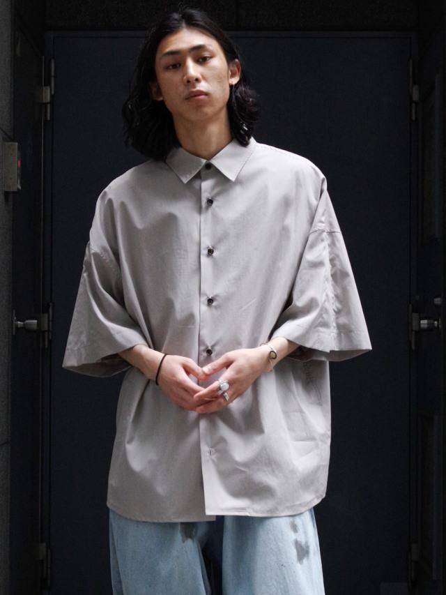 "【21SS】 my beautiful landlet (マイビューティフルランドレット)  ""LOOSE DRESS SHORT SLEEVE SHIRT"" <シャツ> - LIGHT GRAY"