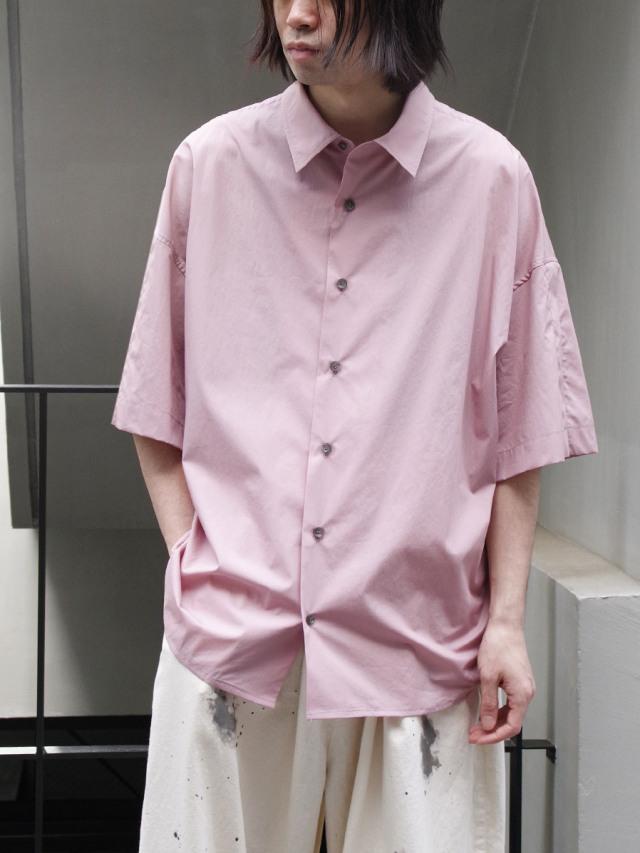 "【21SS】 my beautiful landlet (マイビューティフルランドレット)  ""LOOSE DRESS SHORT SLEEVE SHIRT"" <シャツ> - PINK"