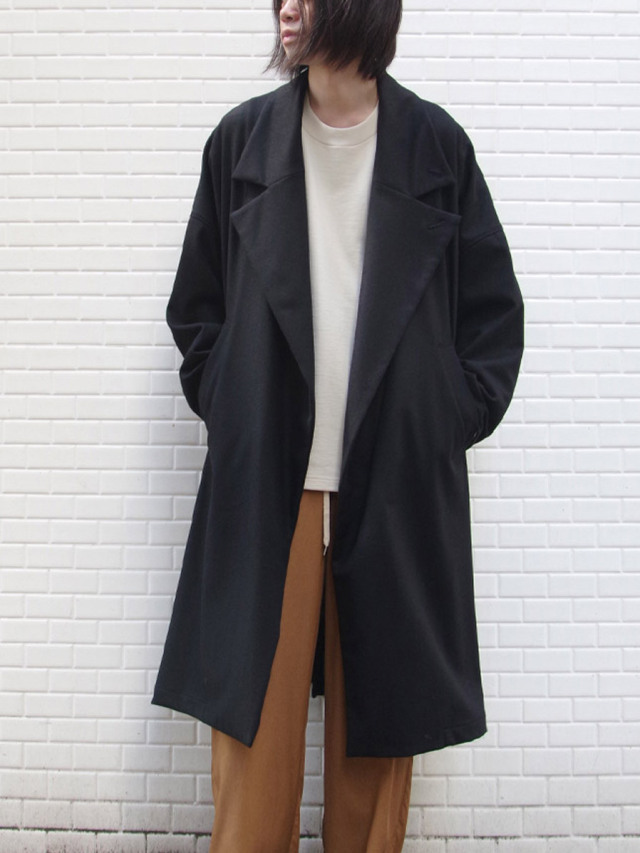 "【20AW】 my beautiful landlet (マイビューティフルランドレット)  ""FLANNEL WOOL WIDE LONG COAT"" <ロングコート> - BLACK"