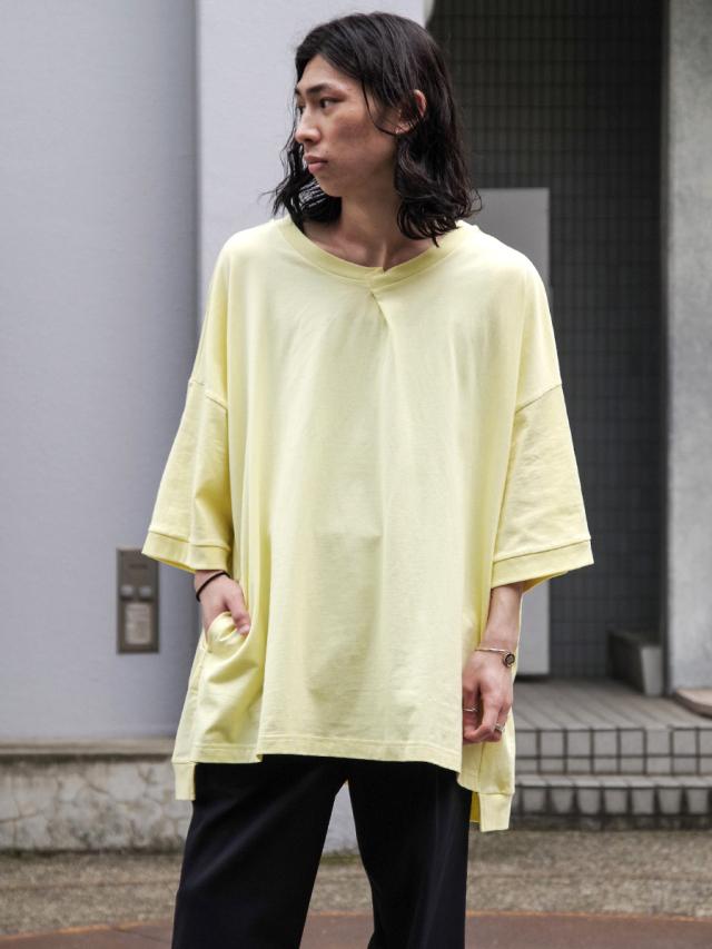 """【2021 HIGH SUMMER】 my beautiful landlet (マイビューティフルランドレット)  """"cotton BIG T-shirt"""" <カットソー> - YELLOW"""