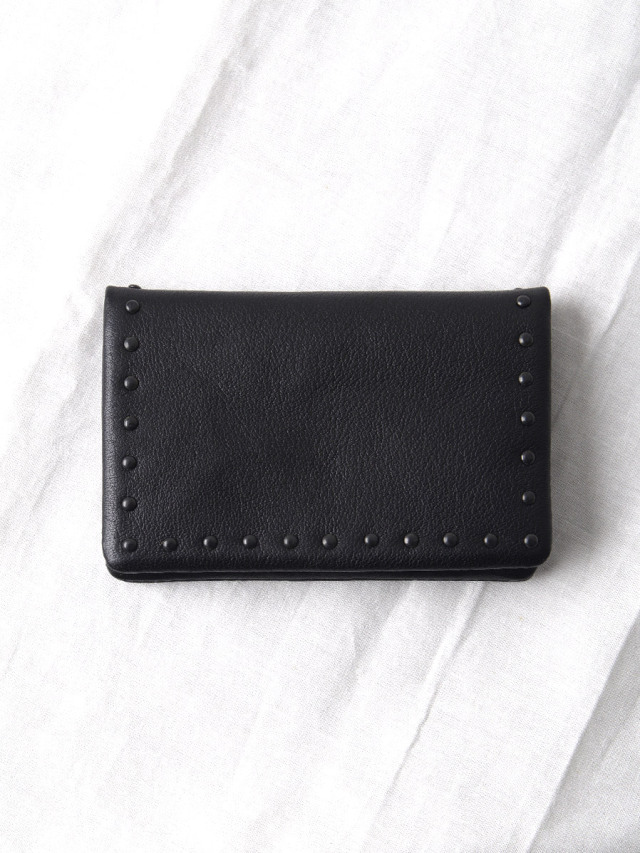 "PATRICK STEPHAN (パトリックステファン) ""Leather card case 'corner studs' KS"" #183AAO23 <カードケース> - BLACK×BLACK"