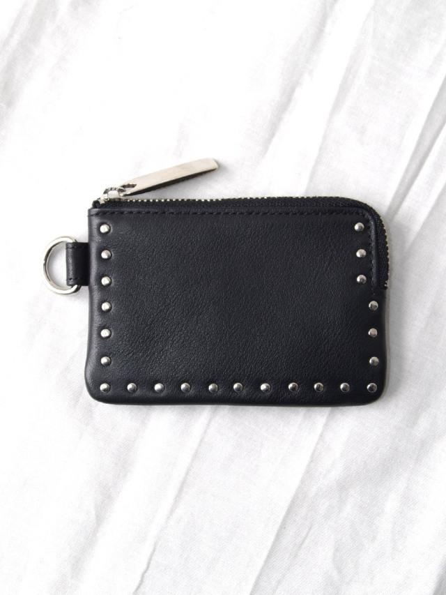 "PATRICK STEPHAN (パトリックステファン) ""Leather coin case 'corner studs' KS"" #183AWA22 <コインケース> - BLACK×SILVER"
