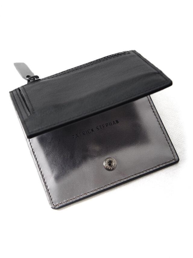"PATRICK STEPHAN (パトリックステファン) ""Leather minimal wallet"" #182AWA06 <財布> - BLACK/SILVER"