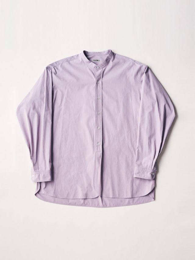"RAKINES ""TRINITY CHAMBRAY CLOTH - BAND COLLAR SHIRT"" - ORCHID PURPLE"