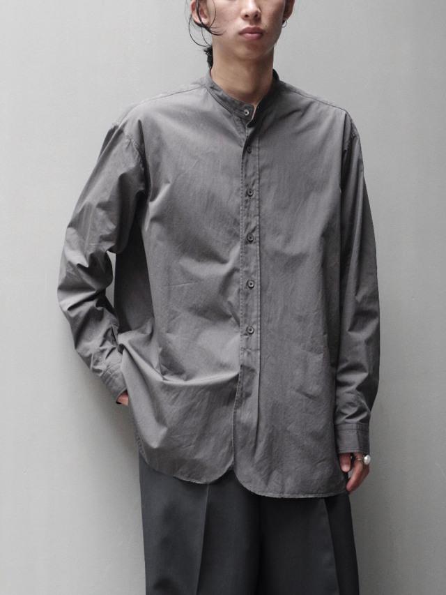 "RAKINES ""TRINITY CHAMBRAY CLOTH - BAND COLLAR SHIRT"" - DOVE GRAY"