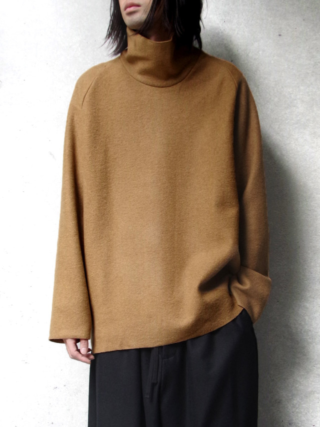 """【20AW】 VOAAOV (ヴォアーブ)  """"COMPRESSED WOOL JERSEY HIGH NECKED"""" <ハイネックスウェット> - BEIGE"""