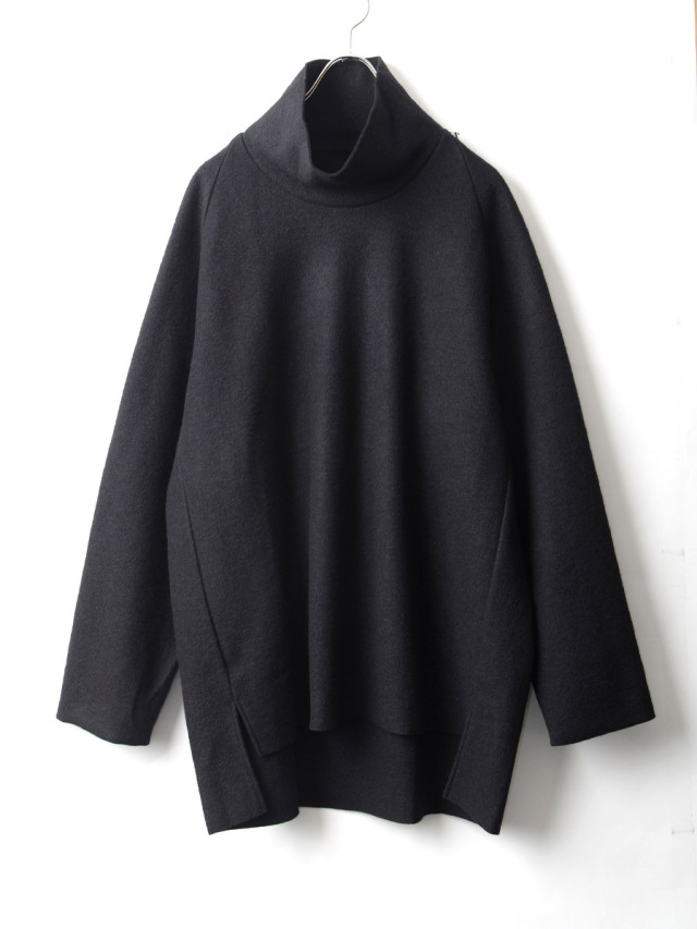 """【20AW】 VOAAOV (ヴォアーブ)  """"COMPRESSED WOOL JERSEY HIGH NECKED"""" <ハイネックスウェット> - BLACK"""