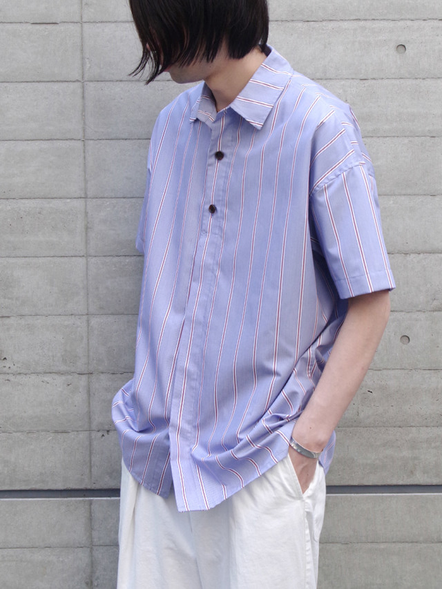 "【20SS】 VOAAOV (ヴォアーブ)  ""stripe S/S shirt"" <シャツ> - BLUE"