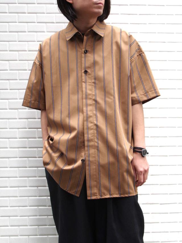 "【SALE:20SS】 VOAAOV (ヴォアーブ)  ""stripe S/S shirt"" <シャツ> - BROWN"