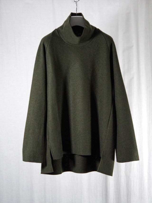 """VOAAOV """"COMPRESSED WOOL JERSEY HIGH NECKED"""" - OLIVE"""