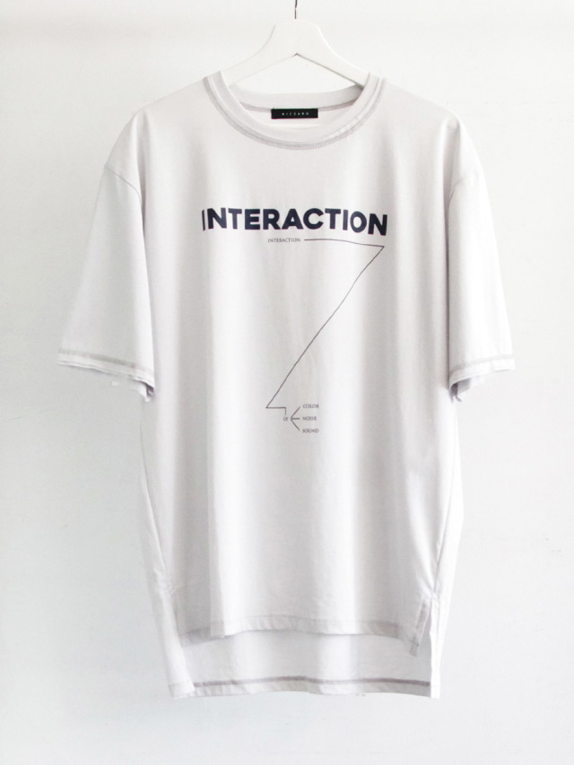 """【2019AW】 wizzard (ウィザード)  """"PRINT CUTSEW """"INTERACTION"""" <カットソー> - LIGHT GRAY"""