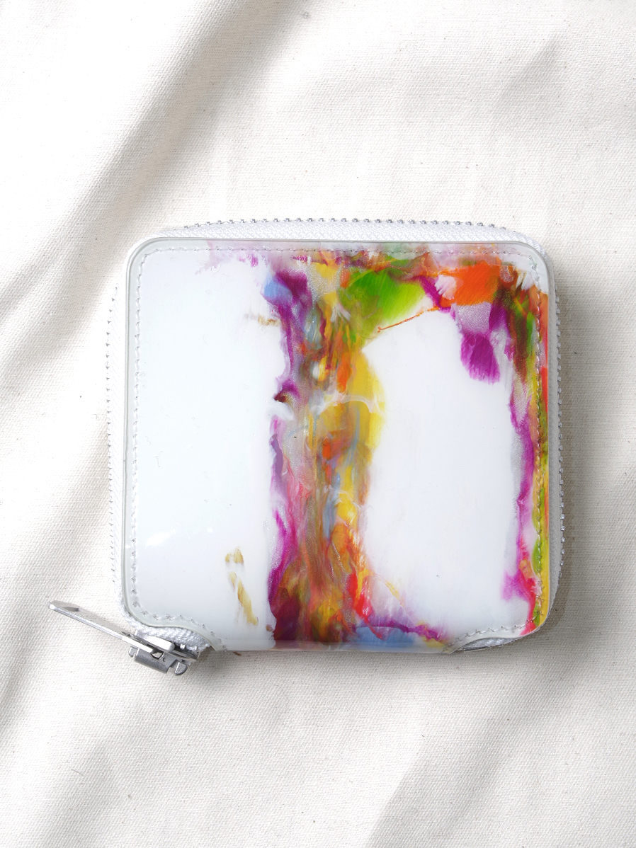 "macromauro (マクロマウロ) // ""PAINT WALLET"" <2つ折り財布> - WHITE-""B"""