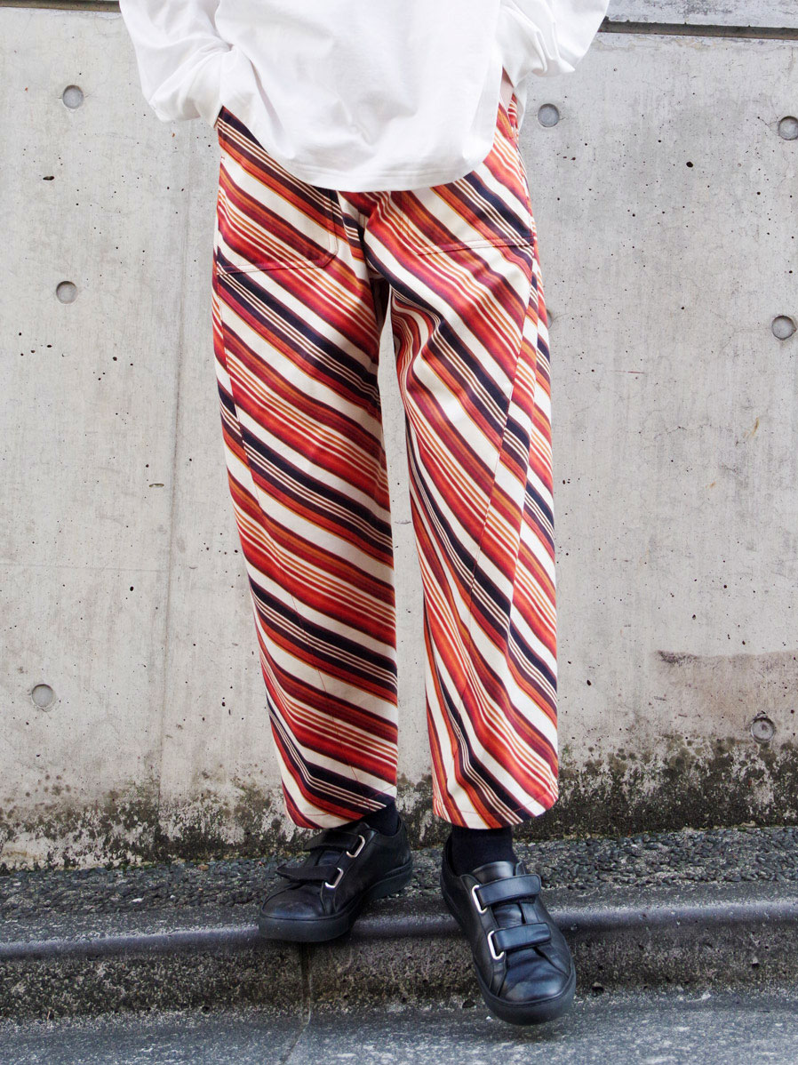 "【SALE】 MASU ""VASE PATTERN WORK PANTS"" - FADED ORANGE"