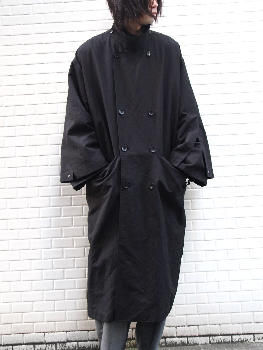 "【2020SS】 my beautiful landlet (マイビューティフルランドレット)  ""cotton linen big trench"" <トレンチコート> - BLACK"