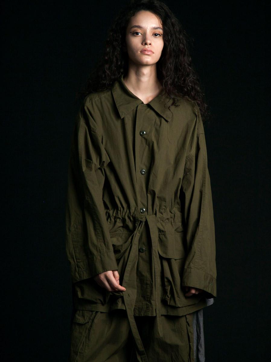 """【2020SS】 my beautiful landlet (マイビューティフルランドレット)  """"ripstop wide jacket"""" <ジャケット/ブルゾン> - OLIVE"""