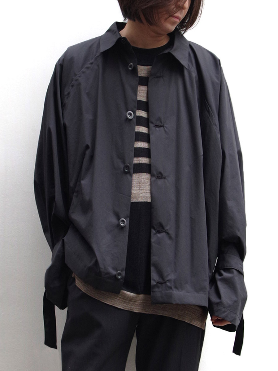 "【SALE:2020SS】 my beautiful landlet (マイビューティフルランドレット)  ""typewriter shirt blouson"" <シャツブルゾン> - BLACK"