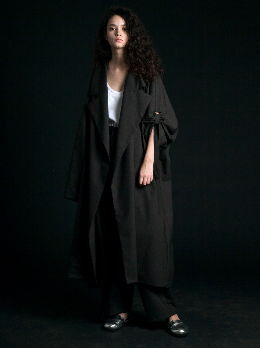 "【2020SS】 my beautiful landlet (マイビューティフルランドレット)  ""worsted wool wide long coat"" <ロングコート> - CHARCOAL"