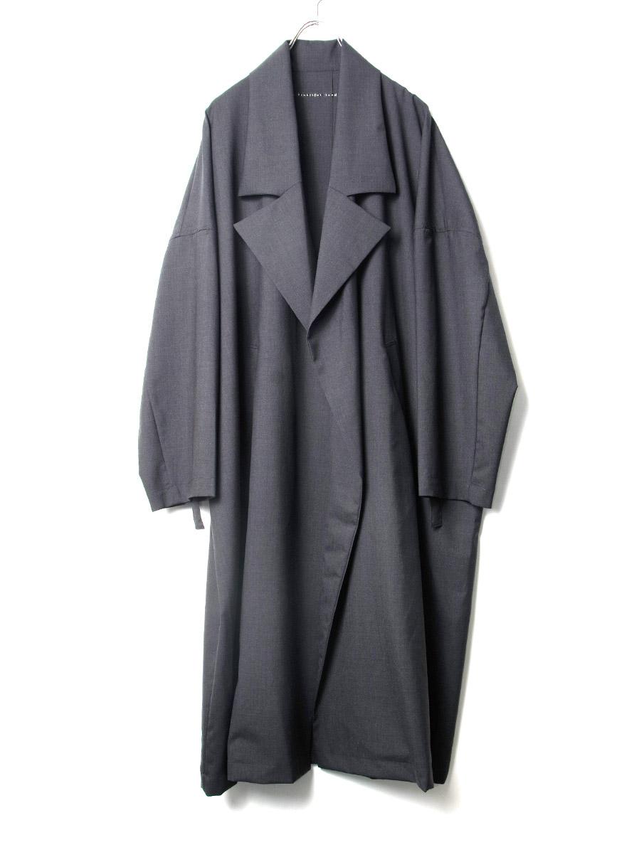 "【2020SS】 my beautiful landlet (マイビューティフルランドレット)  ""worsted wool wide long coat"" <ロングコート> - GRAY"