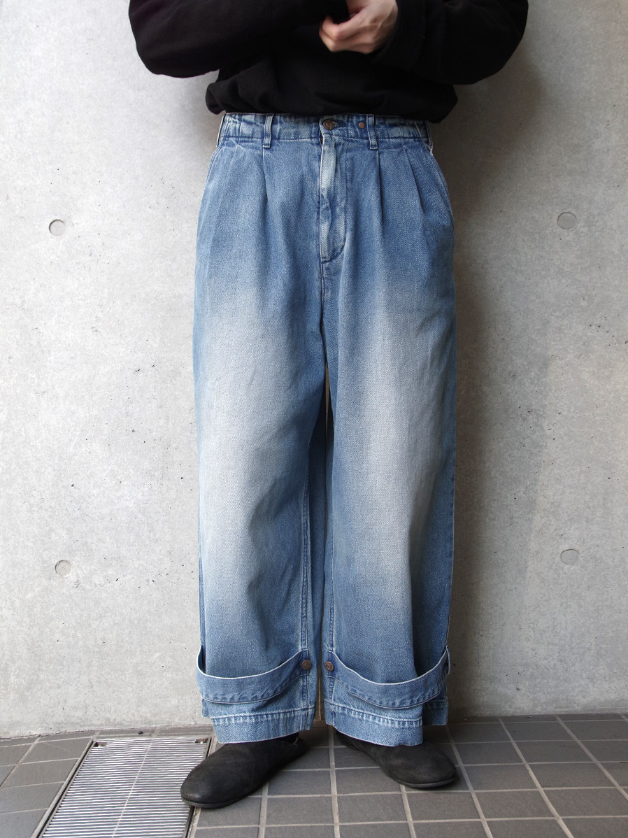 "【2020SS】 my beautiful landlet (マイビューティフルランドレット)  ""denim tuck wide pants"" <デニム>"
