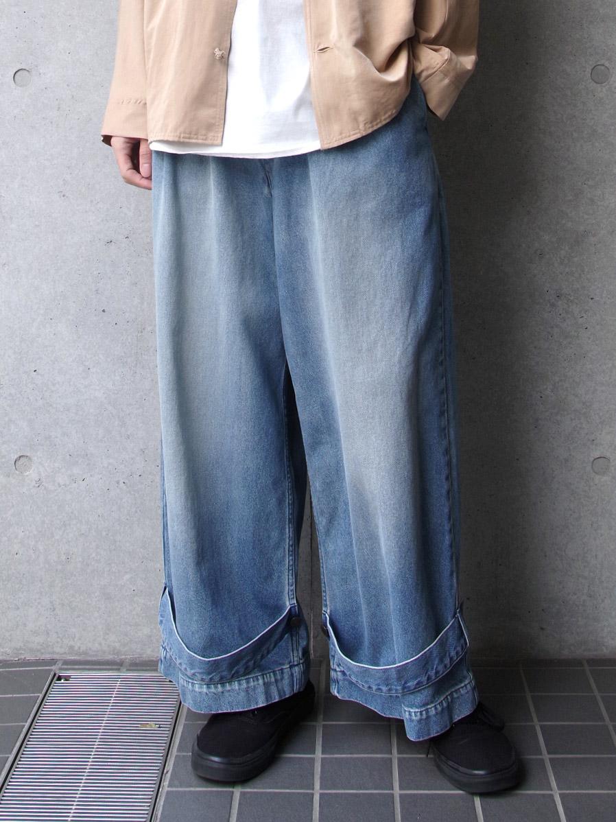 """【SALE:2020SS】 my beautiful landlet (マイビューティフルランドレット)  """"denim tuck wide pants"""" <デニム>"""