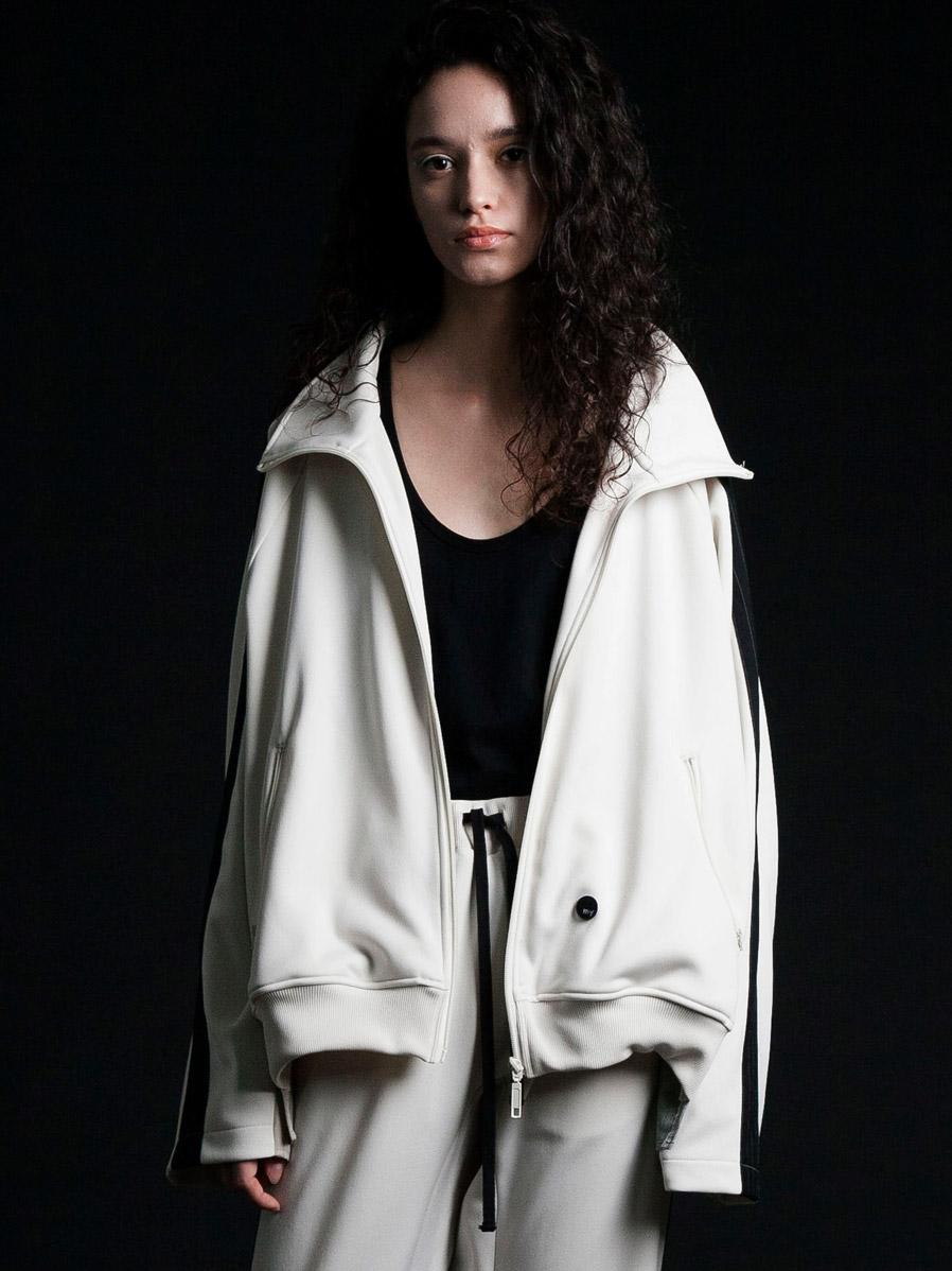 """【2020SS】 my beautiful landlet (マイビューティフルランドレット)  """"remake jersey blouson"""" <ジャージブルゾン> - OFF WHITE"""