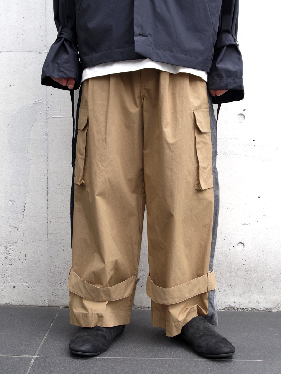 """【2020SS】 my beautiful landlet (マイビューティフルランドレット)  """"ripstop wide cargo pants"""" <パンツ> - BEIGE"""