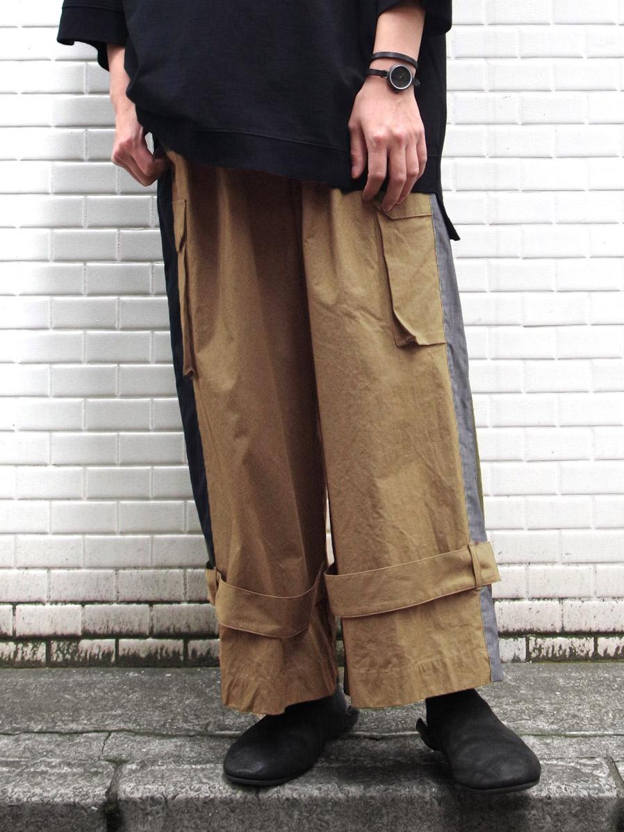 """【SALE:2020SS】 my beautiful landlet (マイビューティフルランドレット)  """"ripstop wide cargo pants"""" <パンツ> - BEIGE"""