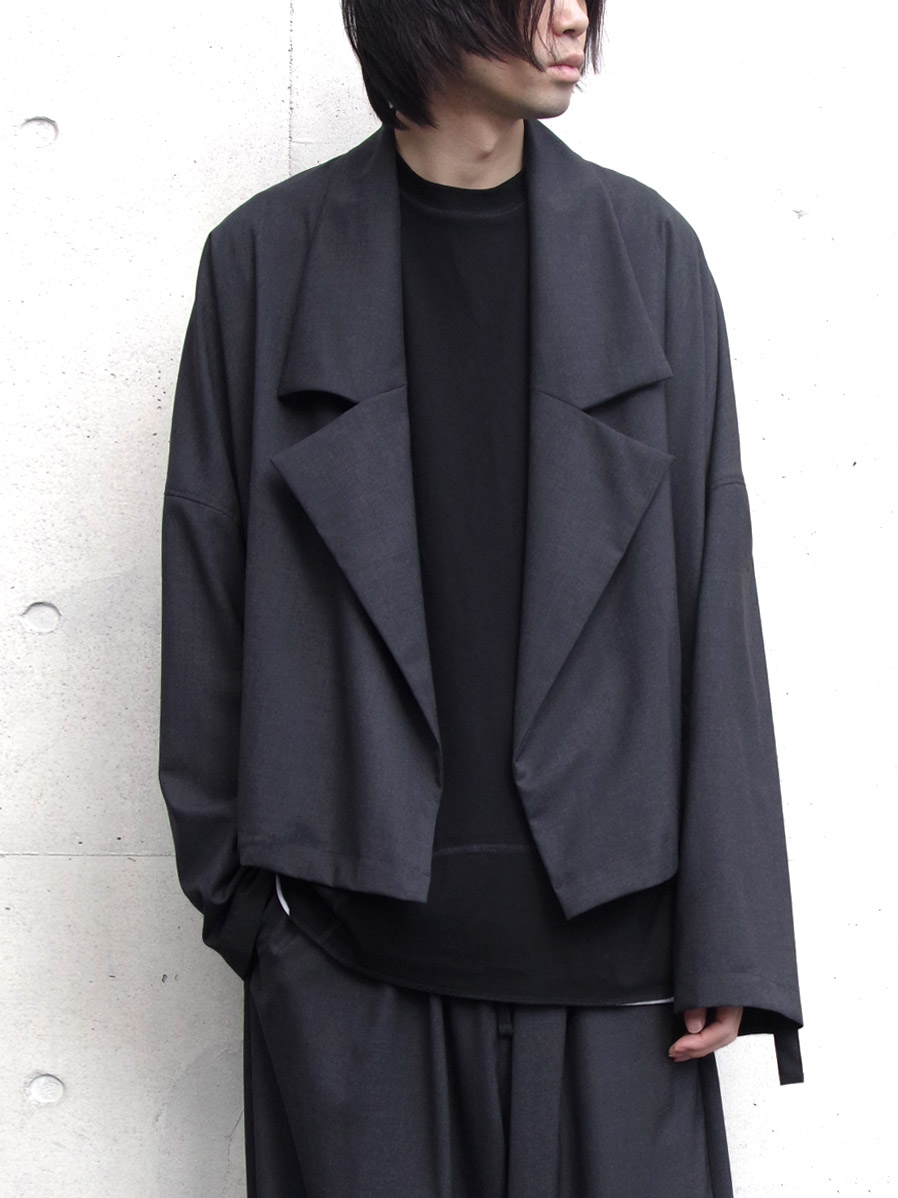 "【2020SS】 my beautiful landlet (マイビューティフルランドレット)  ""worsted wool wide short blouson"" <ショートコート> - CHARCOAL"