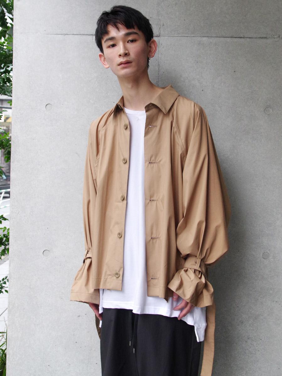 "【2020SS】 my beautiful landlet (マイビューティフルランドレット)  ""typewriter shirt blouson"" <シャツブルゾン> - BEIGE"