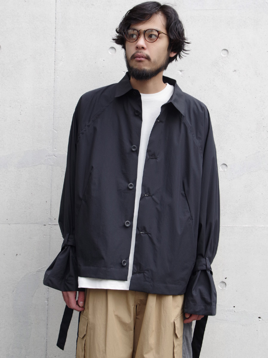 "【2020SS】 my beautiful landlet (マイビューティフルランドレット)  ""typewriter shirt blouson"" <シャツブルゾン> - BLACK"