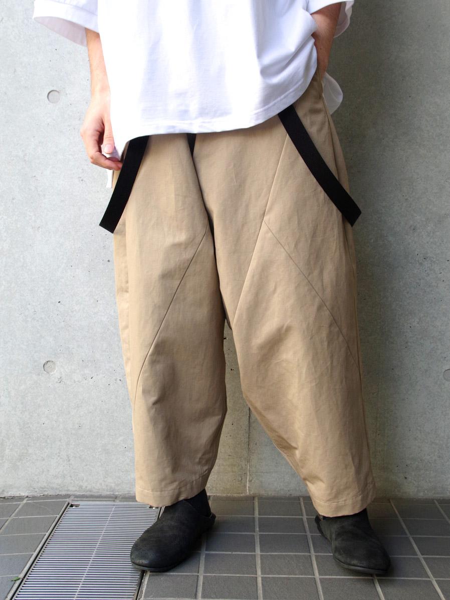 "【2020SS】 my beautiful landlet (マイビューティフルランドレット)  ""patchwork big suspender pants"" <サスペンダーパンツ> - BEIGE"