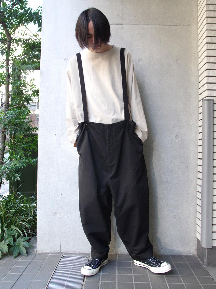 """【2020SS】 my beautiful landlet (マイビューティフルランドレット)  """"patchwork big suspender pants"""" <サスペンダーパンツ> - BLACK"""