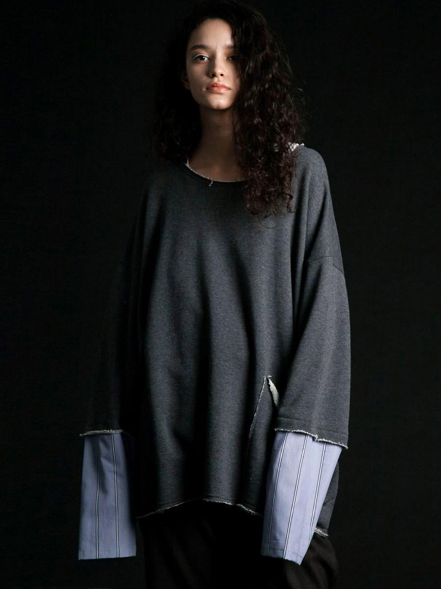 "【2020SS】 my beautiful landlet (マイビューティフルランドレット)  ""swiching sleeves sweat"" <スウェット> - CHARCOAL"