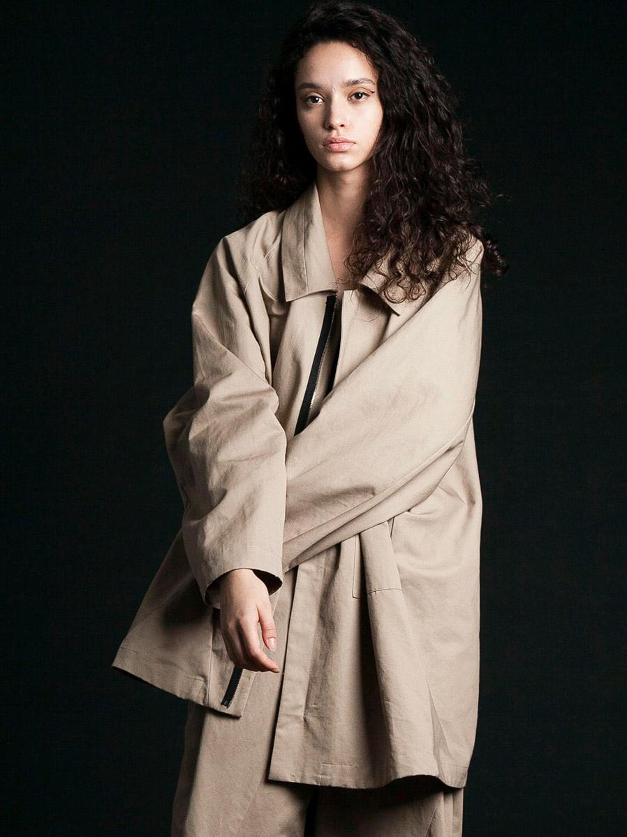 """【2020SS】 my beautiful landlet (マイビューティフルランドレット)  """"patchwork shirt blouson"""" <シャツブルゾン> - BEIGE"""