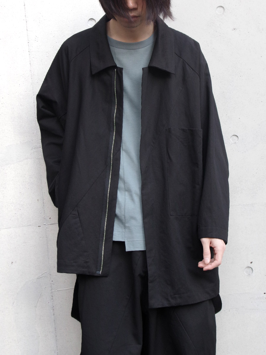 "【2020SS】 my beautiful landlet (マイビューティフルランドレット)  ""patchwork shirt blouson"" <シャツブルゾン> - BLACK"
