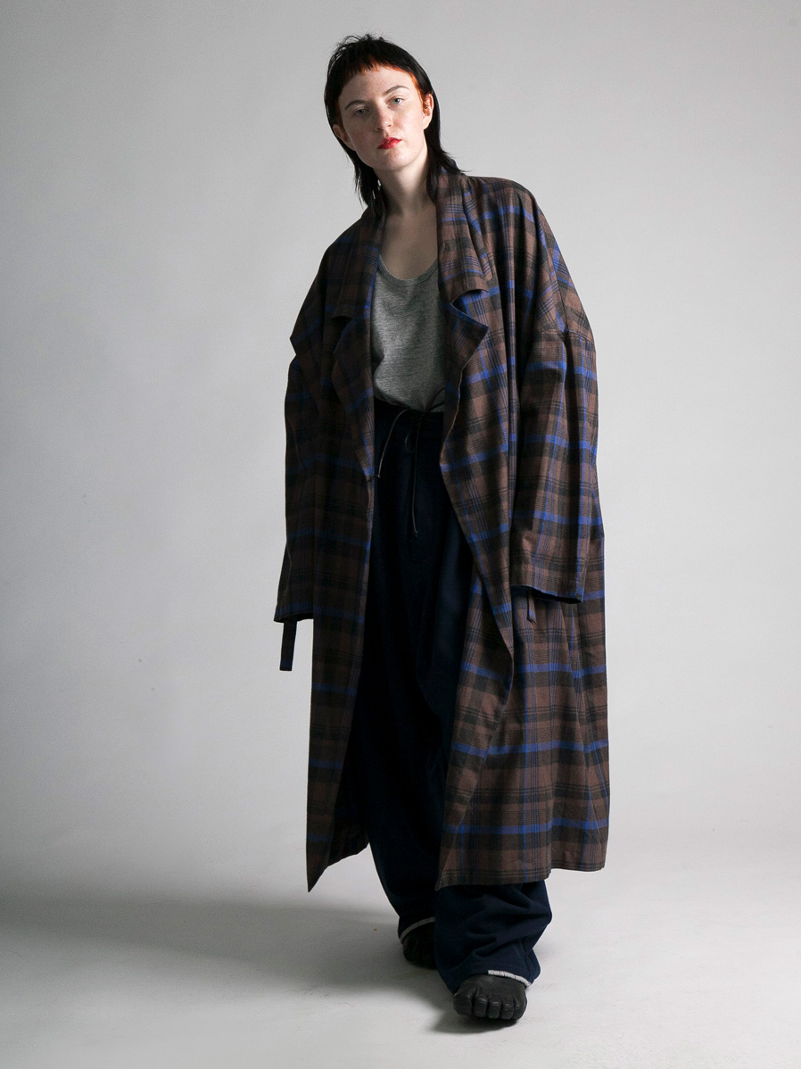 "【19AW】 my beautiful landlet (マイビューティフルランドレット)  ""brushed tartan wide long coat"" <ワイドロングコート> - BROWN"