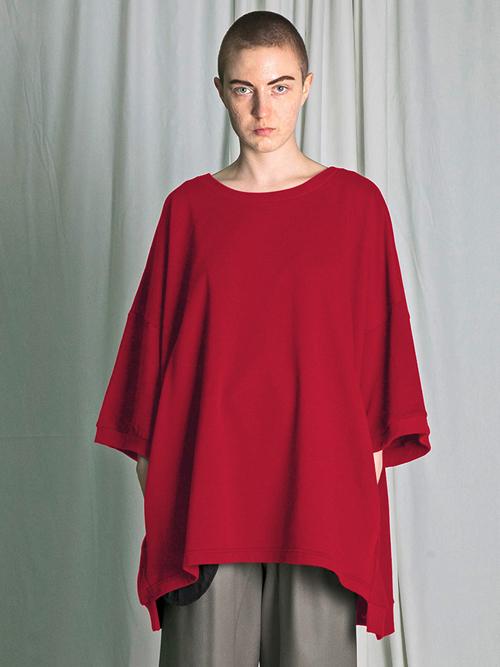 """【18AW】 my beautiful landlet (マイビューティフルランドレット)  """"mini fleecy BIG T-shirt"""" <スウェット/Tシャツ/カットソー> - RED"""