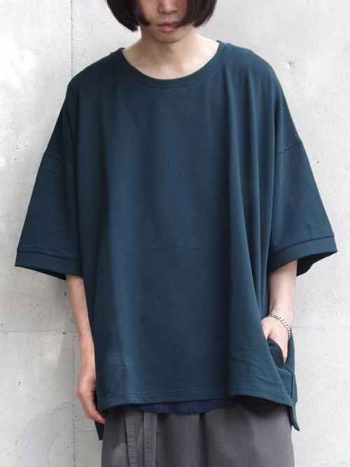 """【18AW】 my beautiful landlet (マイビューティフルランドレット)  """"mini fleecy BIG T-shirt"""" <スウェット/Tシャツ/カットソー> - D.GREEN"""